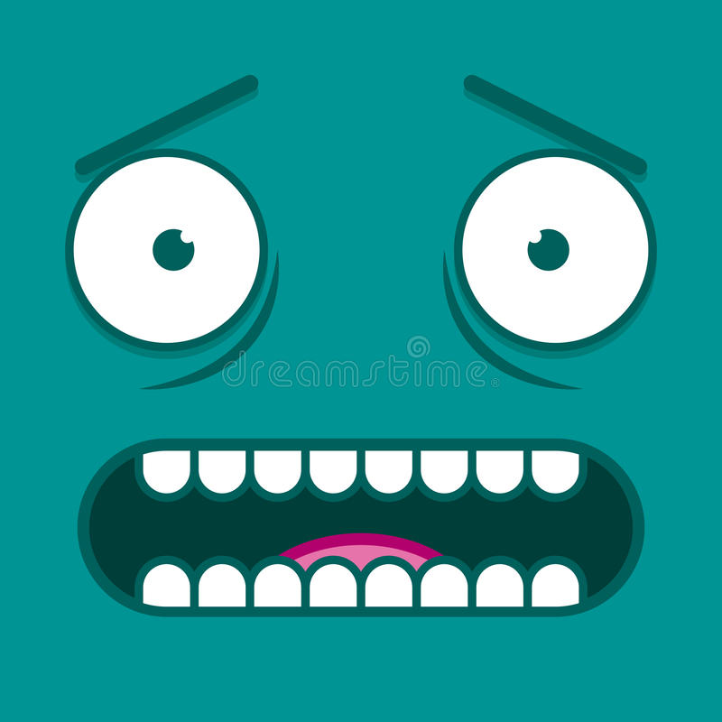 a vector cute cartoon white scared face stock illustration