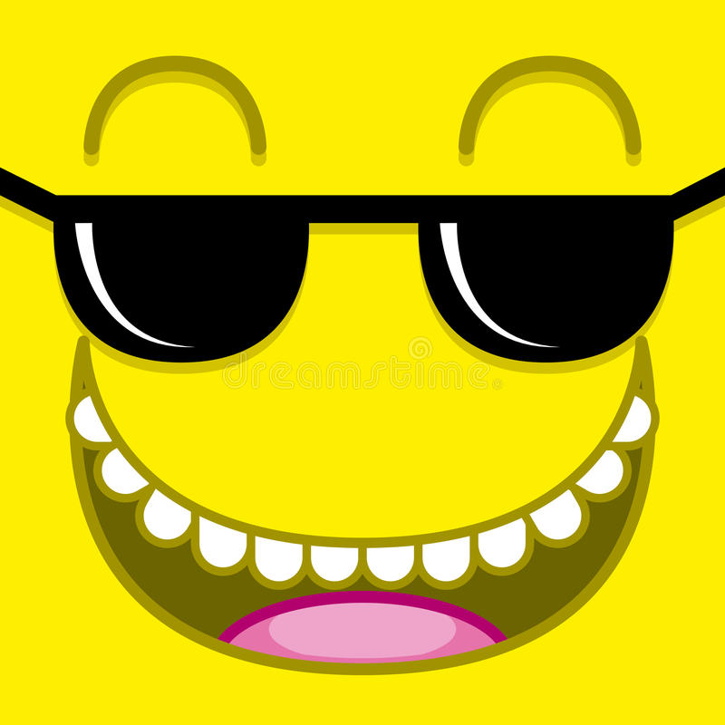 A Vector Cute Cartoon Yellow Face With Sunglasses stock illustration