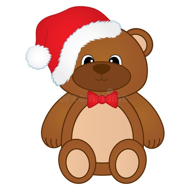 Vector cute Christmas teddy bear with red bow and Santa hat. Christmas teddy bear vector illustration stock illustration