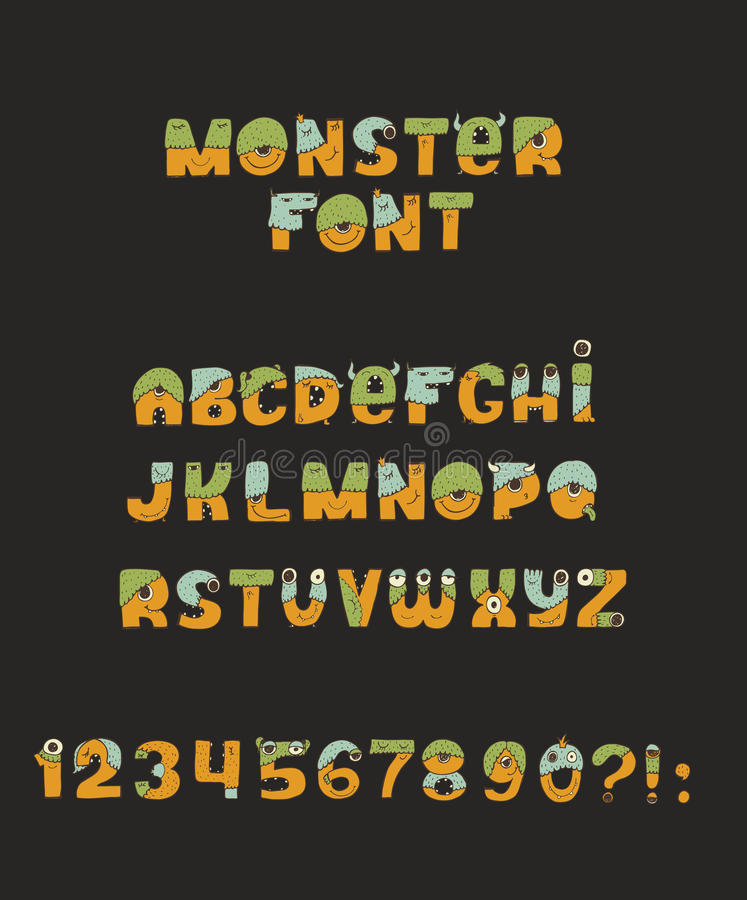 Vector cute colorful kind monster font. Every letter has unique design with fur, eyes, nose, mouth and teeth. Some have crowns and vector illustration