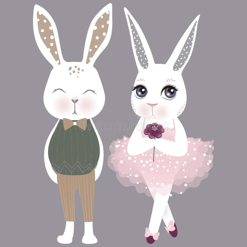Vector cute couple bunnies. Girl and boy. Happy Easter illustrat royalty free illustration