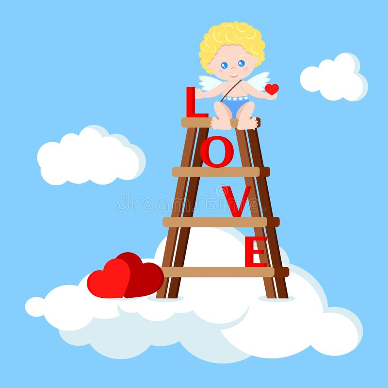 Vector cute cupid boy sitting on the stairs with heart vector illustration