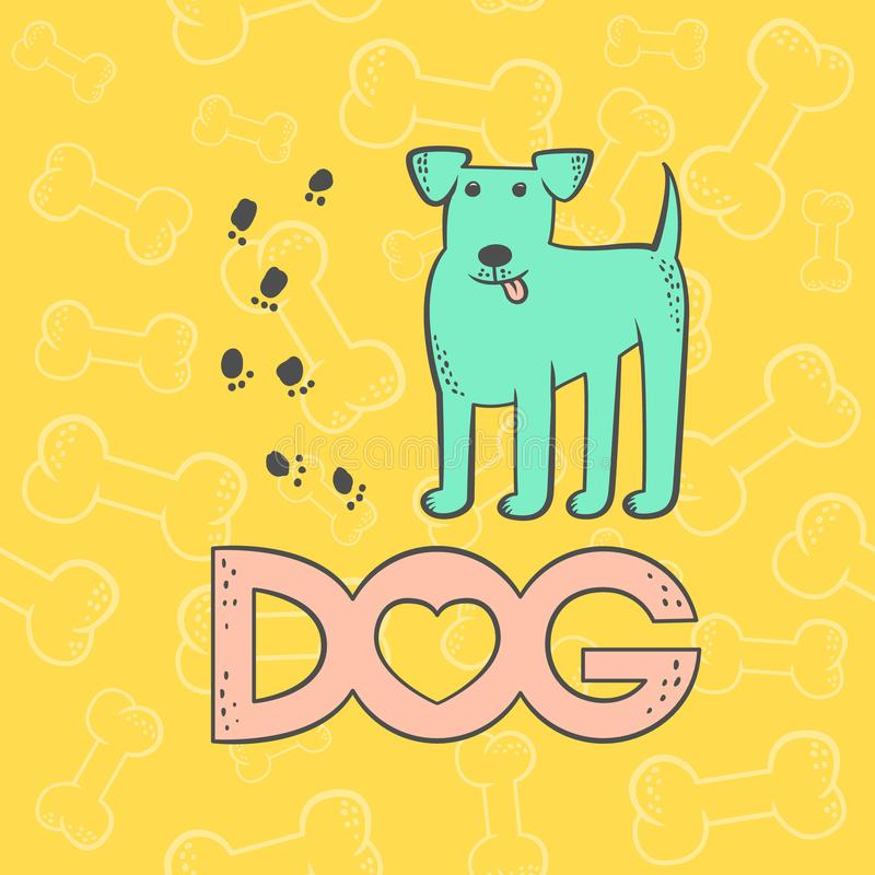 Vector cute dog terrier. Funny caricature animal cartoon character. Contour flat card bright pet isolated colorful vector illustration