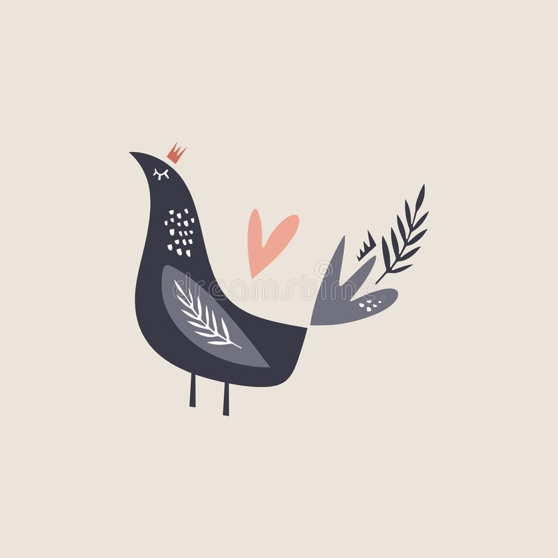 Vector cute doodle bird partridge and plants, decor cut out elements collection, nursery illustration, cartoon character, clip art royalty free illustration