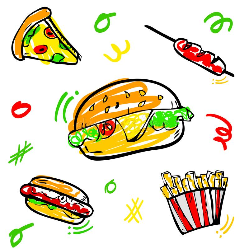 5 cute doodle Junk Food, Burger, Hotdog, Sausage, French, Fries, and Pizza with scribble yellow, red, green, orange fill color. Vector 5 cute doodle Junk Food royalty free illustration