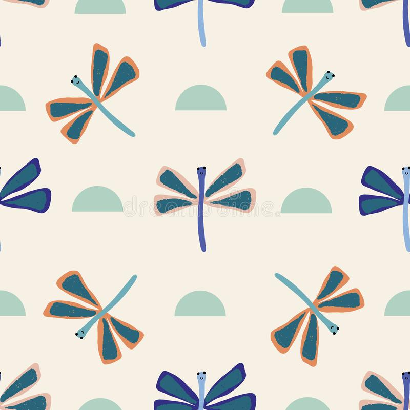 Vector cute dragonfly seamless repeat background royalty free illustration