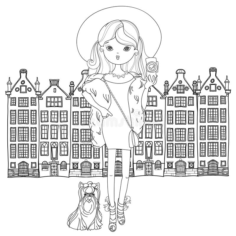 Vector cute fashion girl with dog. Vector cute fashion girl with dog in Netherlands Amsterdam.Vector line illustration.Sketch for postcard or print or coloring royalty free illustration