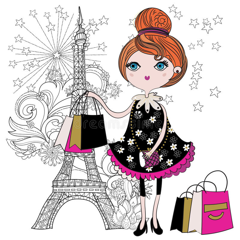 Free Vector Cute Fashion Girl With Shopping Bags. Stock Photos - 70038713