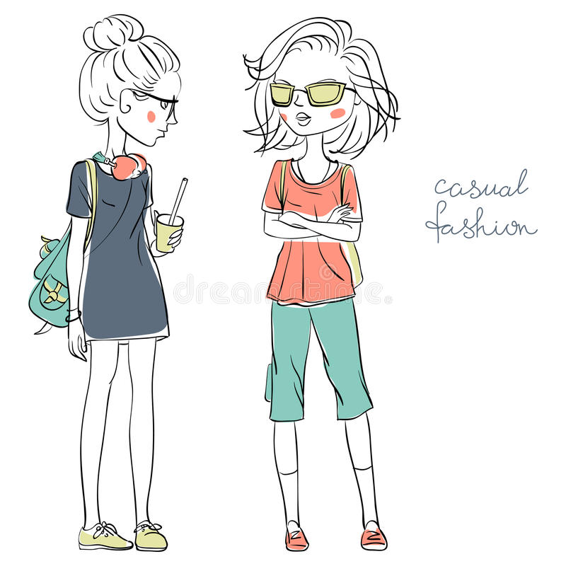 Vector cute fashionable girls royalty free illustration