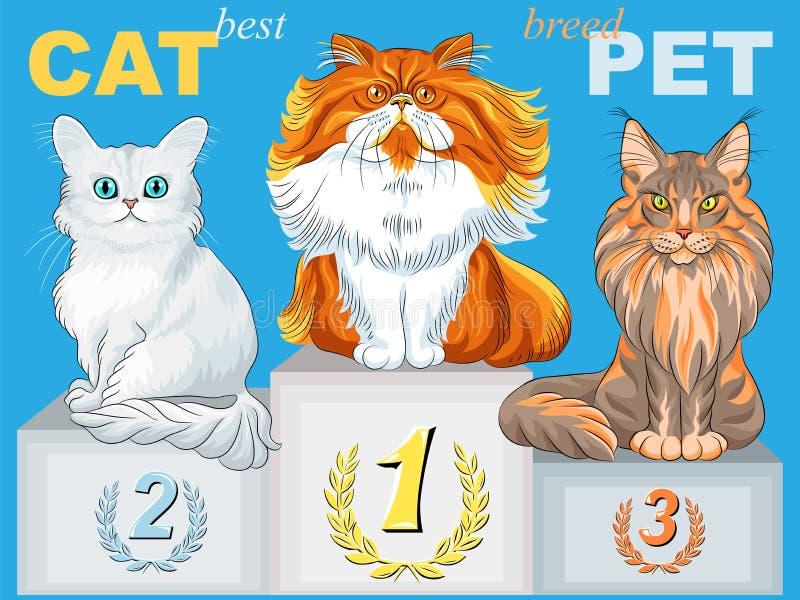 Vector cute fluffy cat champion on the podium stock photo