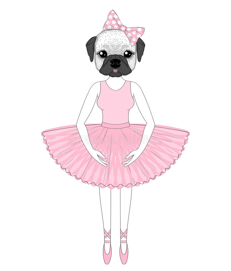 Vector cute french bulldog in dress like ballerina. Hand drawn a royalty free illustration