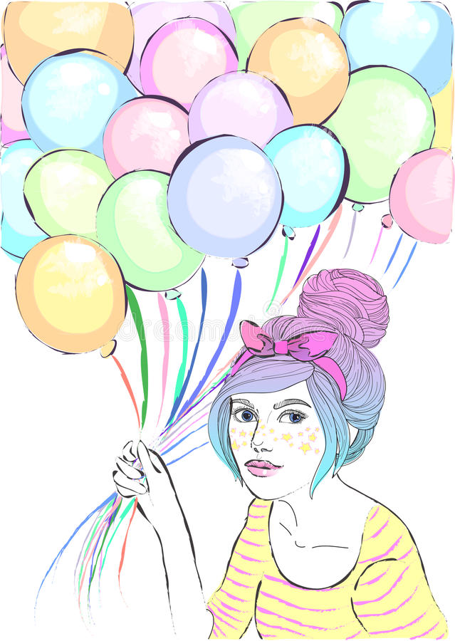 vector cute girl with balloons royalty free illustration