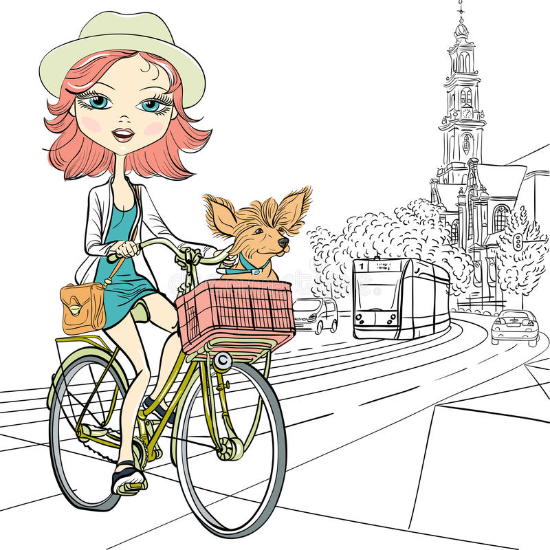 Vector cute girl with dog on the bike in Amsterdam. Cute beautiful fashionable girl with dog rides a bike in Amsterdam royalty free illustration