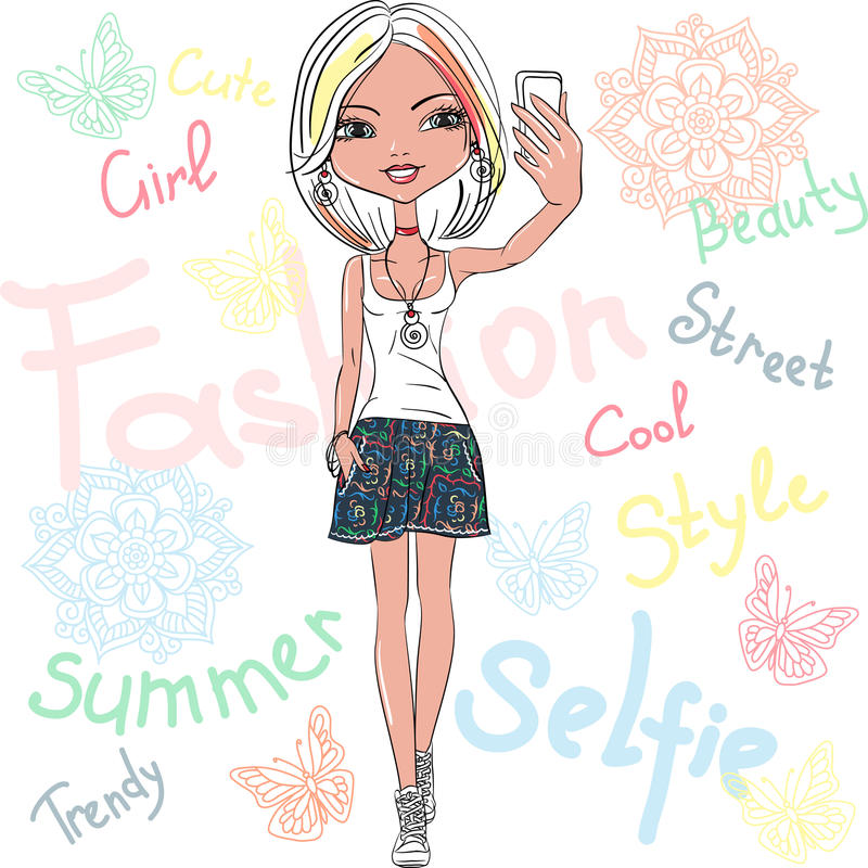 Vector cute girl makes selfie royalty free stock images