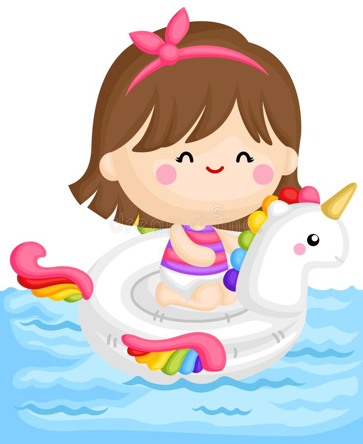 A Vector of Cute Girl Sitting on top of Unicorn Float at the Pool. A Vector of Cute Little Girl Sitting on top of Unicorn Float at the Pool royalty free illustration