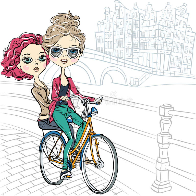Vector cute girls on the bike in Amsterdam. Cute beautiful fashionable girls ride a bike in Amsterdam royalty free illustration