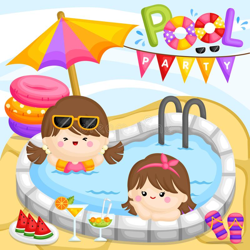 A Vector of Cute Girls Having a Fun Party at the Pool royalty free illustration