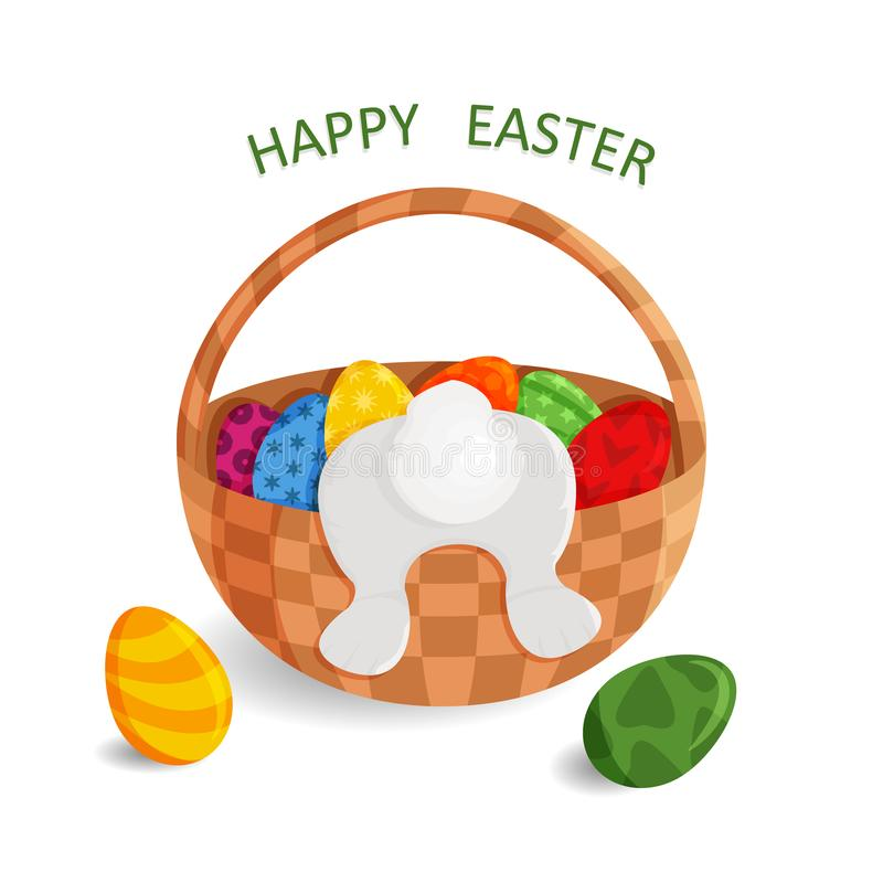 Vector Cute Greeting Card of Happy Easter vector illustration