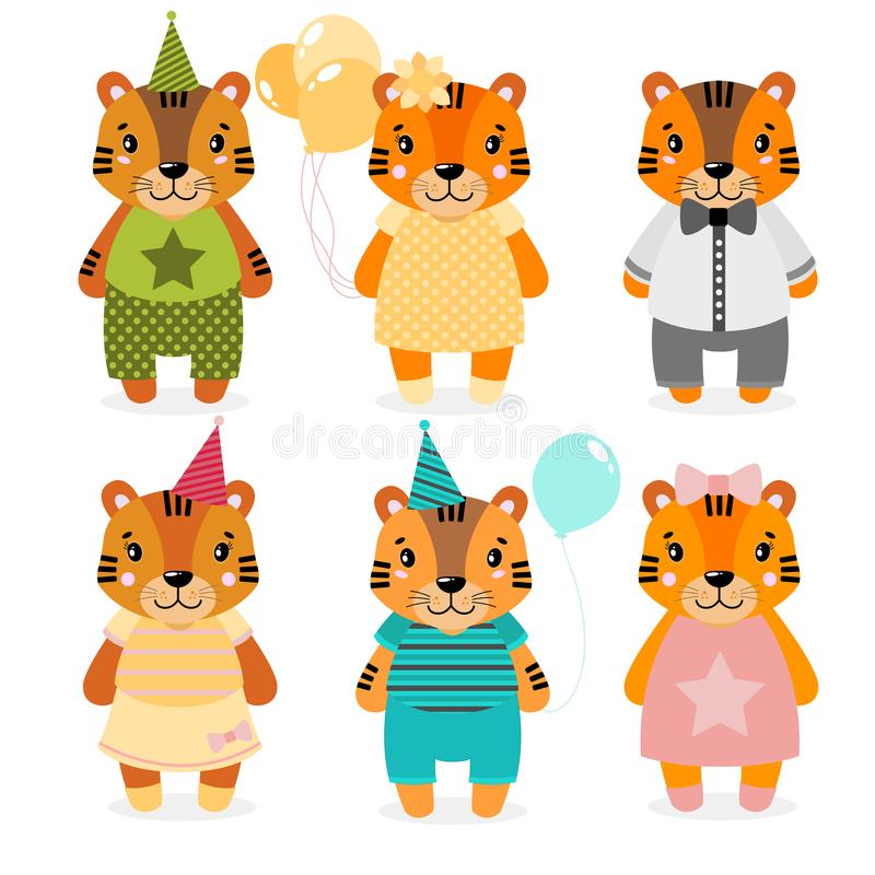 Vector cute happy tiger, girls and boys.dressed in different clothes. Scrapbooking print. congratulate card. royalty free illustration