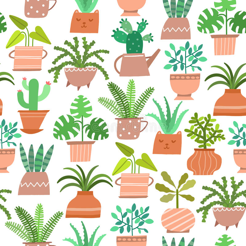 Vector cute house plant seamless pattern stock illustration