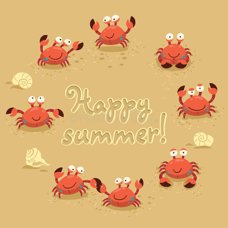Vector cute Illustration of crabs and lettering on vector illustration