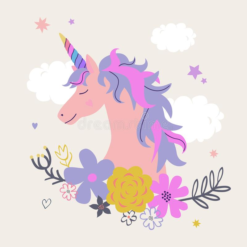 Vector cute illustration of unicorn with flowers vector illustration