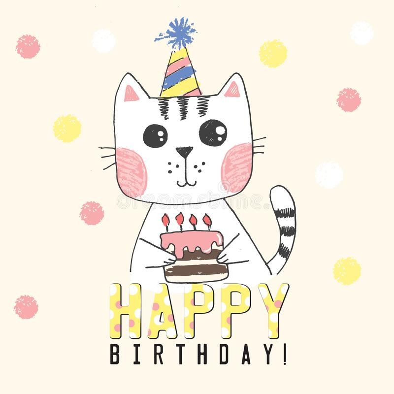 Sketch cat with cake with candles, striped hat, background with colored snowflakes, greeting card, baby shower royalty free illustration