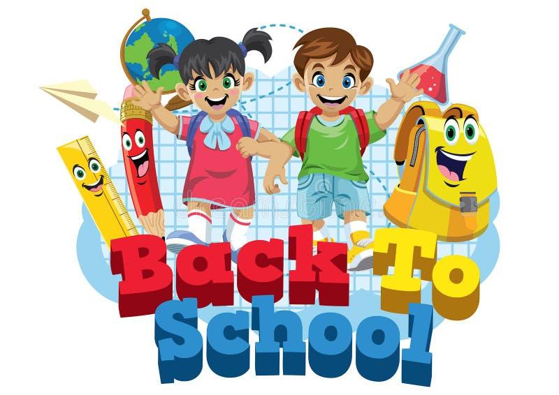 Cute kids student and school supplies cartoon stock illustration