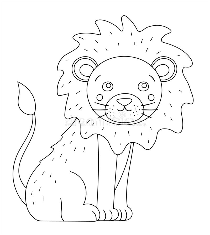 Vector Cute Lion Outline Funny Tropical Exotic Animal Black And White Illustration Fun Coloring Page For Children Jungle Summer Stock Vector Illustration Of Funny Black 179966981 Coloring page outline of cartoon cute lion. dreamstime com