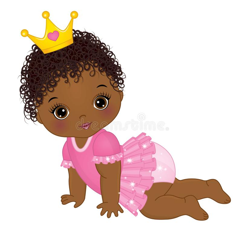 Vector Cute African American Baby Girl Dressed as Princess. Vector cute little African American baby girl dressed as princess. Vector baby girl. Vector little royalty free illustration