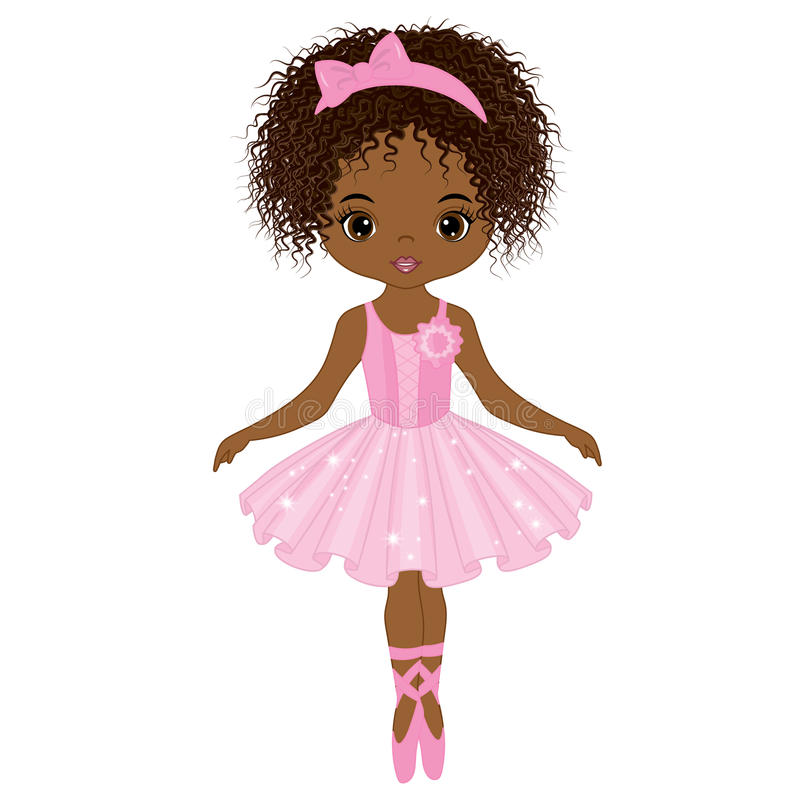 Vector Cute Little African American Ballerina Dancing stock illustration