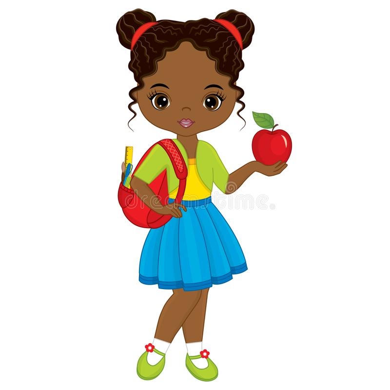 Free Vector Cute Little African American Girl With School Bag And Red Apple Royalty Free Stock Photography - 103630827
