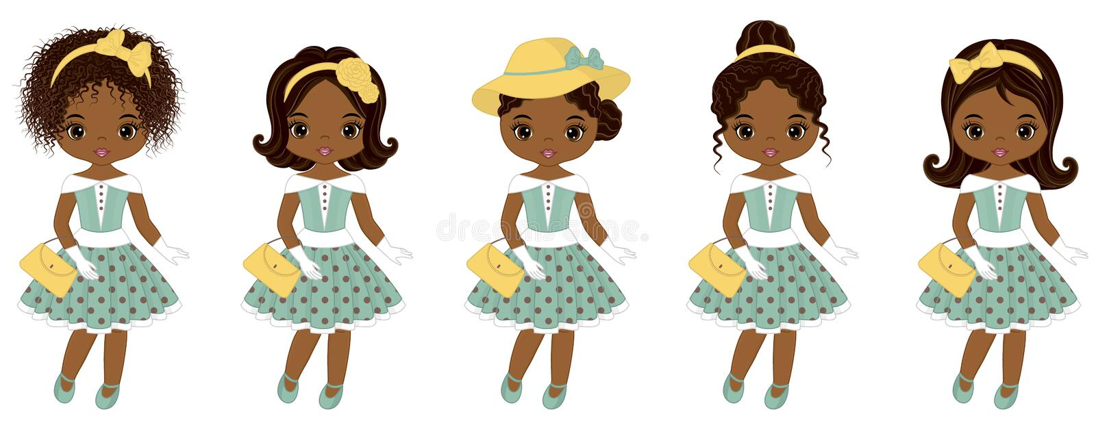 Vector Cute Little African American Girls in Retro Style royalty free illustration