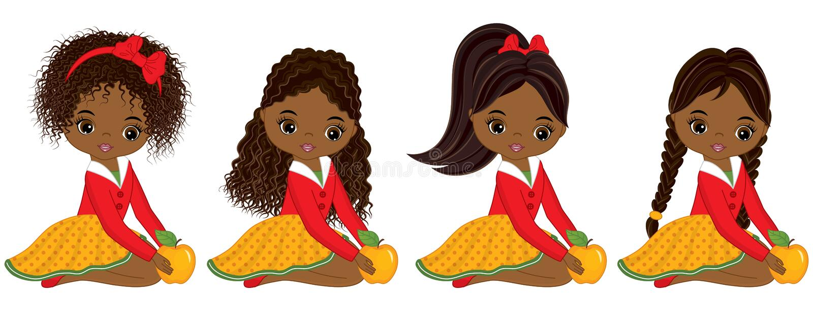 Vector Cute Little African American Girls with Yellow Apples royalty free illustration