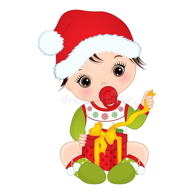 Free Vector Cute Little Baby Girl Wearing Christmas Clothes Stock Photos - 104145653