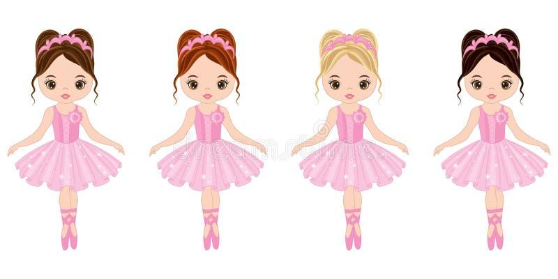 Vector Cute Little Ballerinas with Various Hair Colors vector illustration