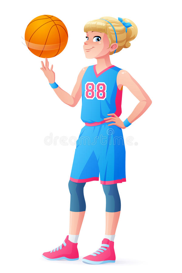 Vector cute little basketball player girl spinning ball on finger. royalty free illustration