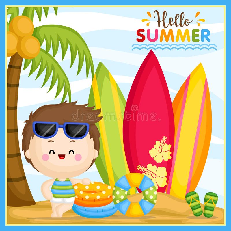A Vector of Cute Little Boy Welcoming Summer Time at the Beach and Ready to Surf stock illustration