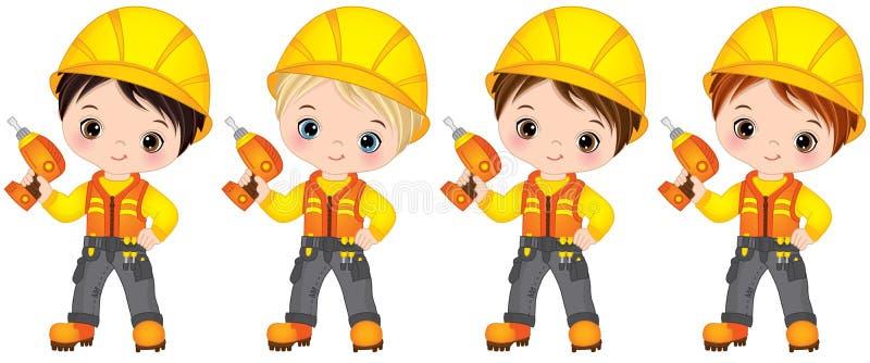 Vector Cute Little Boys Drilling. Vector Little Builders. Vector cute little boys drilling. Vector little boys with various hair colors. Vector little boy stock illustration