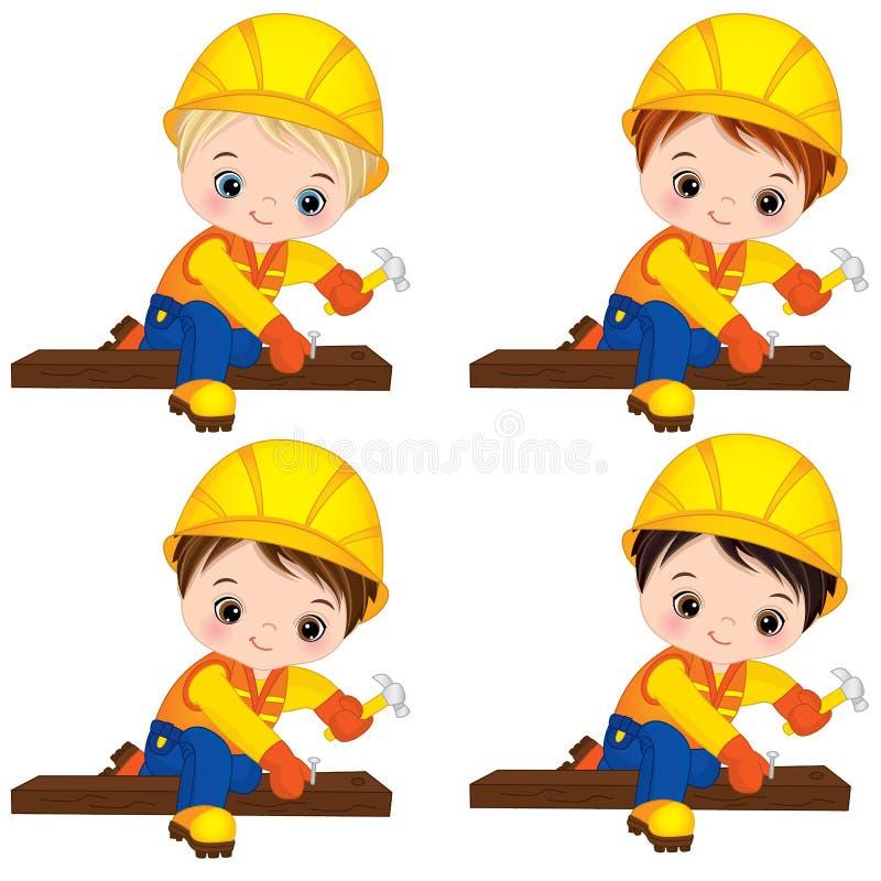 Vector Cute Little Boys Hammering Nails. Vector Little Builders. Vector cute little boys hammering nails. Vector little boys with various hair colors. Vector royalty free illustration