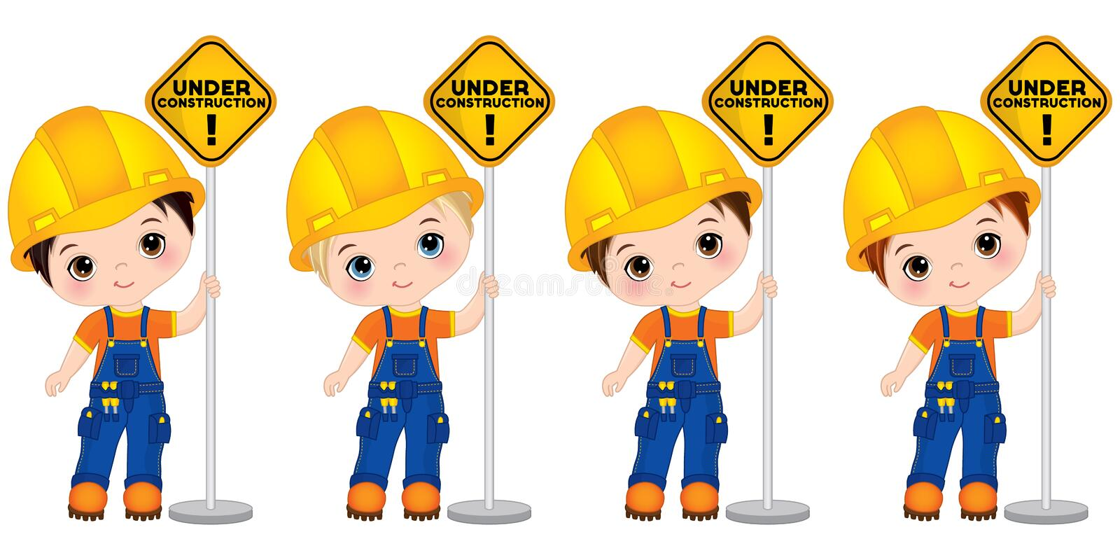 Vector Cute Little Boys Holding the Sign - Under Construction. Vector Little Builders royalty free illustration