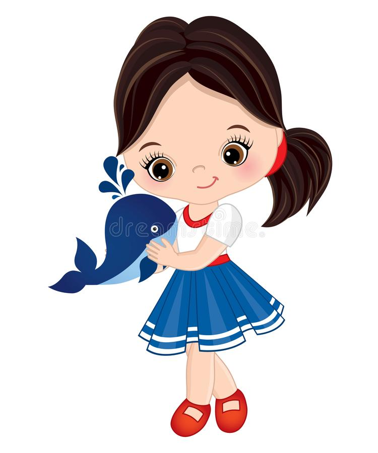 Vector Cute Little Girl Dressed in Nautical Style with Baby Whale royalty free illustration