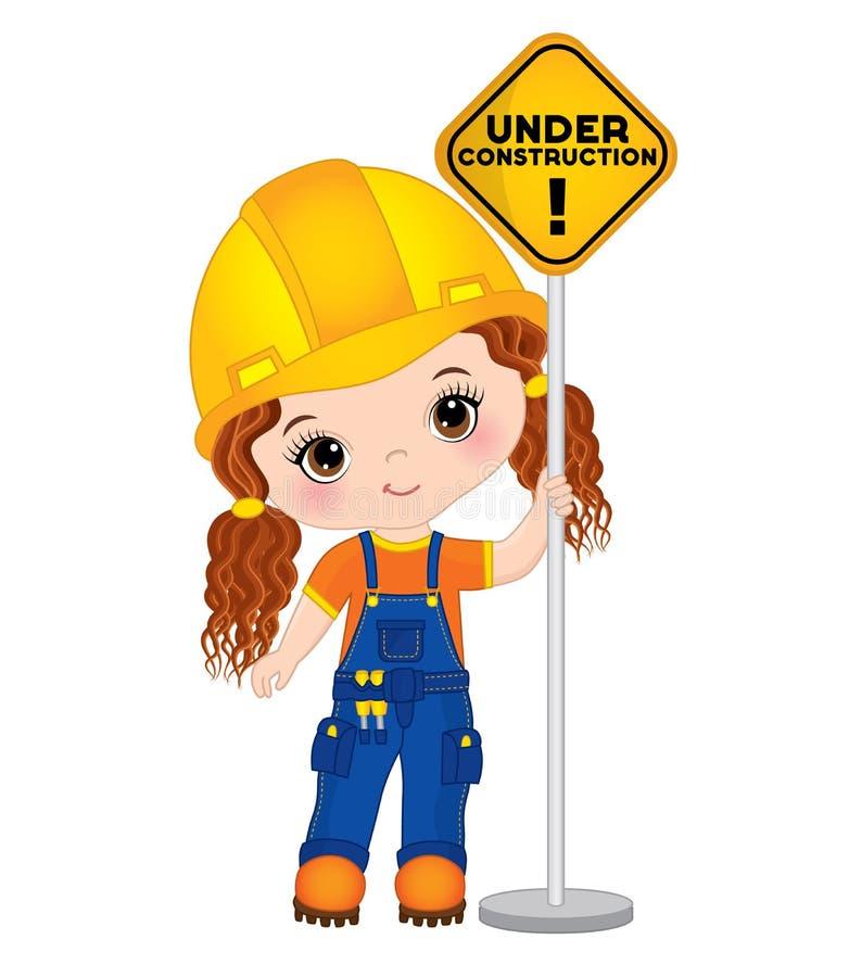 Vector Cute Little Girl Holding the Sign - Under Construction. Vector Little Builder vector illustration