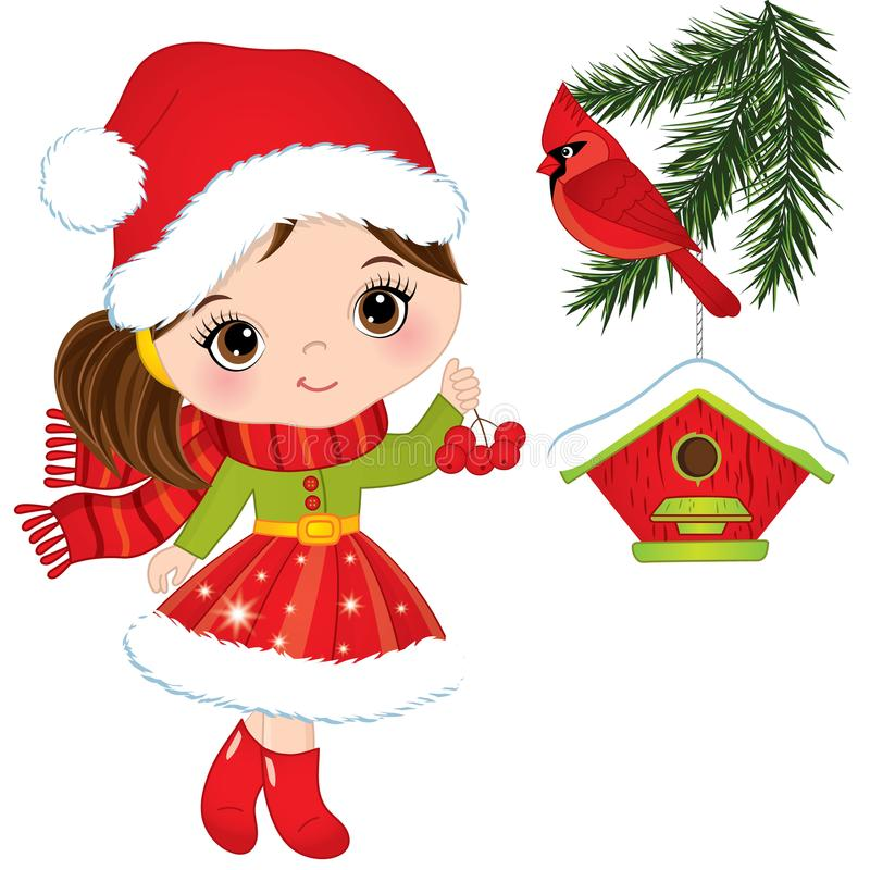 Vector Cute Little Girl with Red Berries, Cardinal and Birdhouse. Vector cardinal sitting on the pine tree branch. Vector Christmas girl. Little girl with red royalty free illustration