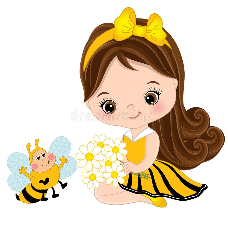 Free Vector Cute Little Girl With Bee And Flowers Stock Photos - 103464633