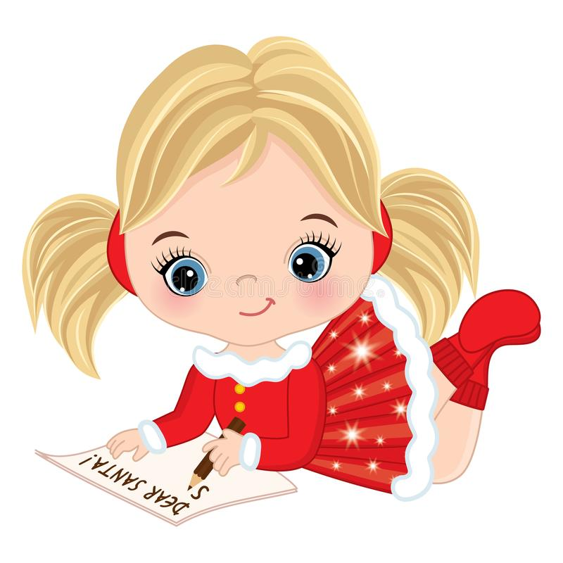 Vector Cute Little Girl Writing Letter To Santa Stock ...