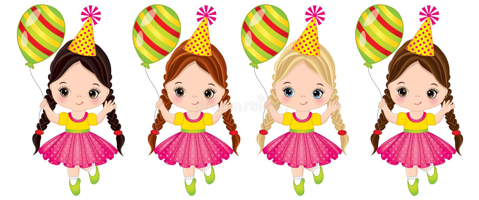 Vector Cute Little Girls with Balloons stock illustration