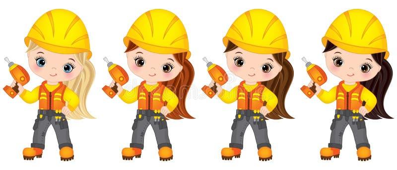 Vector Cute Little Girls Drilling. Vector Little Builders. Vector cute little girls drilling. Vector little girls with various hair colors. Vector construction vector illustration