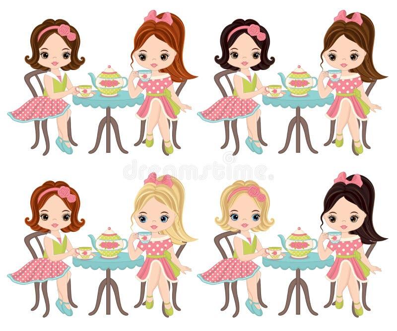 Vector Cute Little Girls Having Tea. Vector little girls with various hair colors. Vector tea party. Little girls vector illustration vector illustration