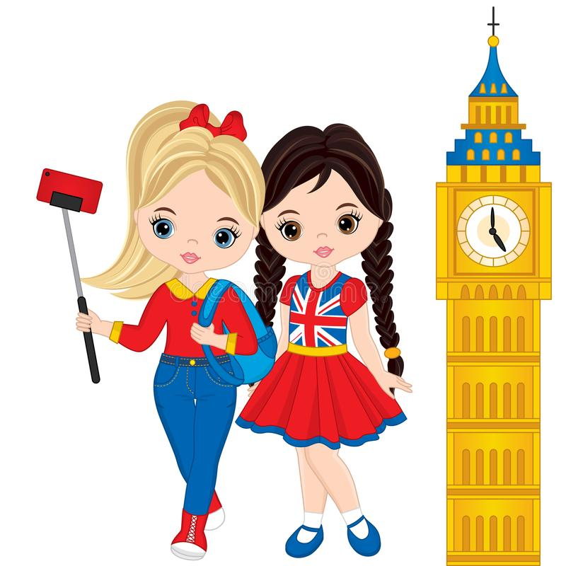 Vector Cute Little Girls Making Selfie with View of the Big Ben. Vector tourists in London. Little girls vector illustration royalty free illustration